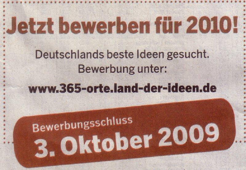 """Aufforderung zur Bewerbung für """"365 Orte"""" 2010 in der WamS"""