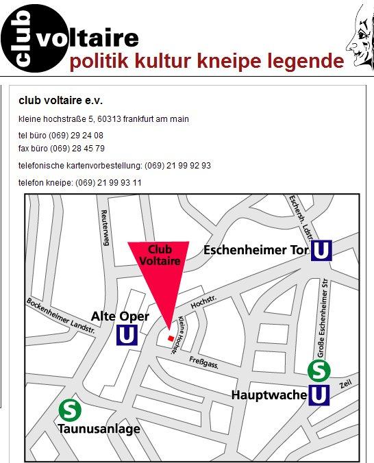 Anfahrtbeschreibung zum Club Voltaire in Frankfurt