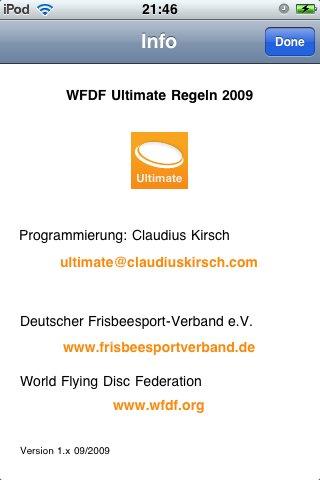 Der korrekte Verweis der iPhone App auf WFDF und DFV