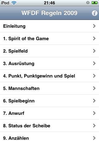 Die Übersicht der Ultimate Regeln in der iPhone App