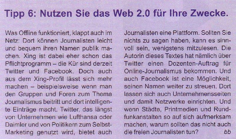 """Tipp 6 von Bettina Blaß im Beitrag von Werner Hinse: """"Von Print leben? Geht doch!"""""""