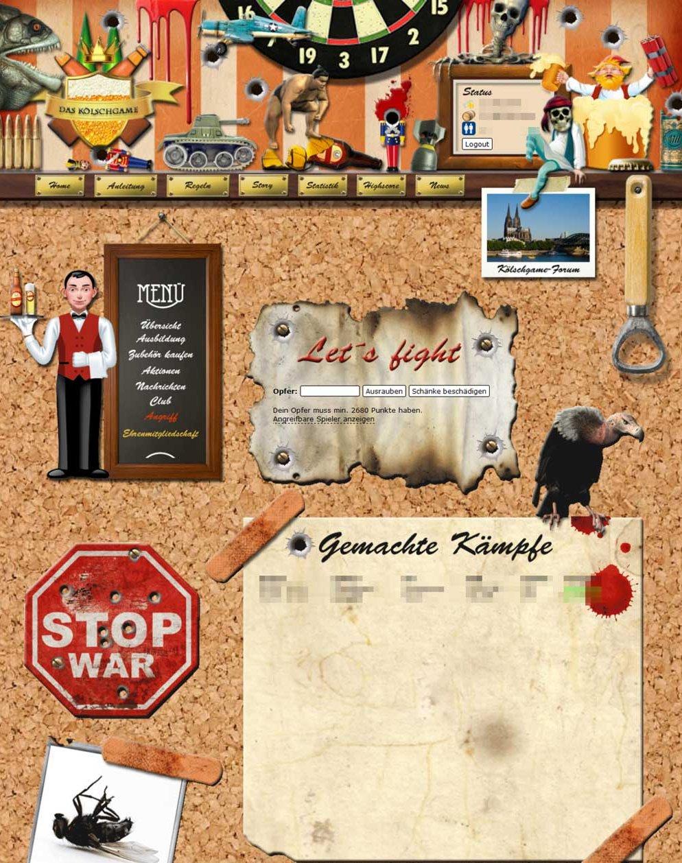 """Überzeugende Illustrationen, Screenshot der """"Kampfseite"""" des Kölschgames"""