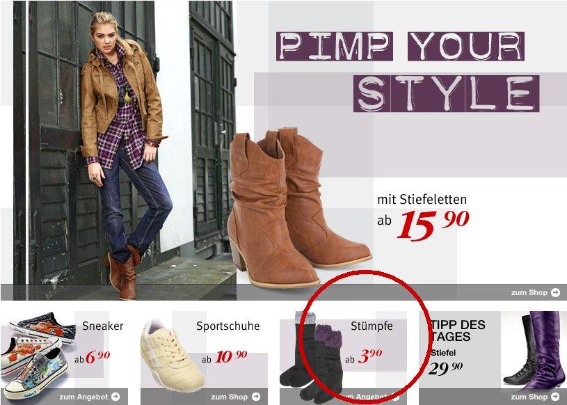 Der Hinweis auf der Schuheseite von Bonprix.de