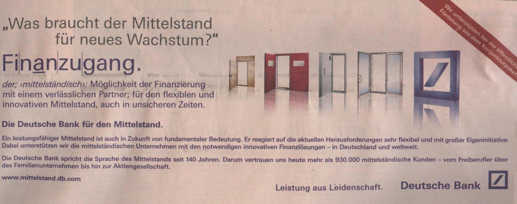 Die ganze Deutsche Bank-Werbung in der FTD vom 05.11.2009