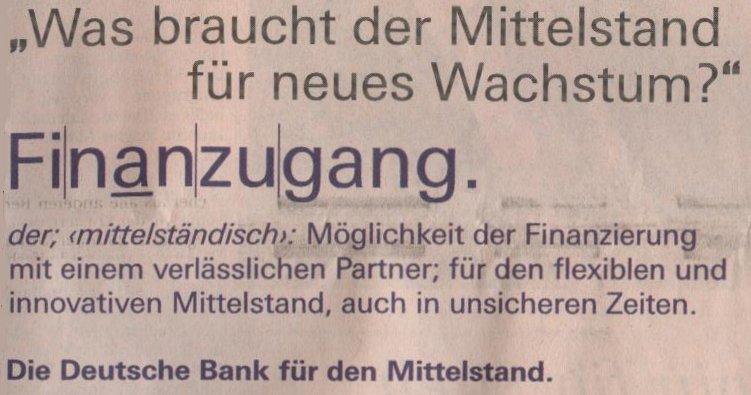 Auschnitt der Deutsche Bank-Werbung in der FTD vom 05.11.2009
