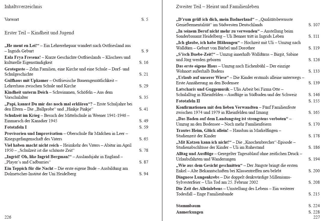 """Inhaltsverzeichnis des Buches """"Von Ostfriesland an den Bodensee"""""""