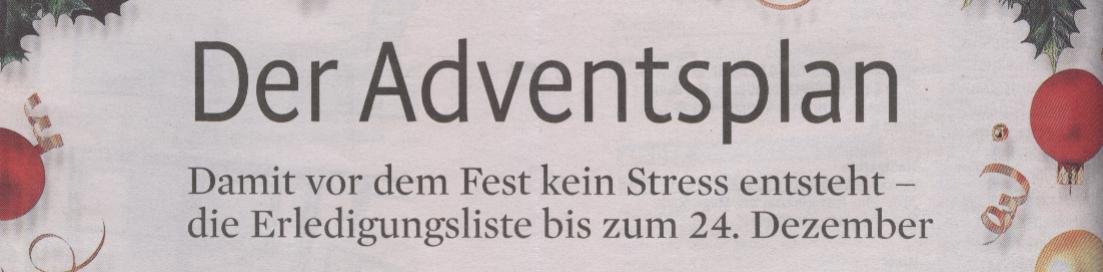 Kölner Stadt-Anzeiger, Magazin vom 17.11.09: Der Adventsplan