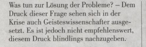 """NZZ, 31.10.09, """"Die Ratlosigkeit des Moments"""", Einstieg"""