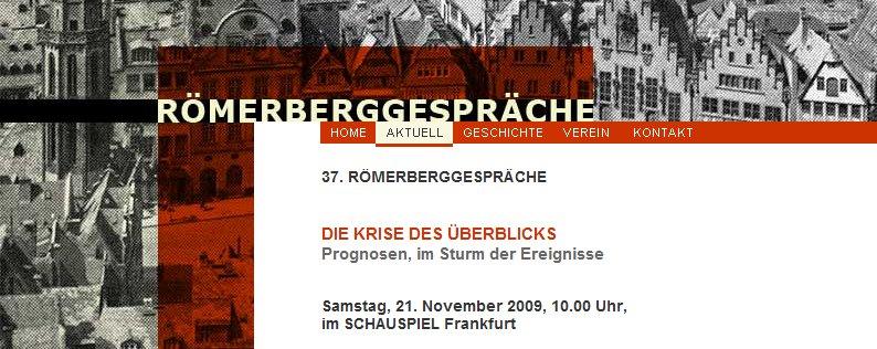 Screenshot der Aktuell-Seite von www.roemerberggespraeche-ffm.de