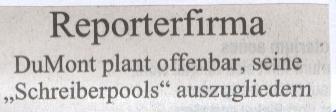 """Titel """"Reporterfirma"""", Süddeutsche Zeitung, 06.11.2009"""