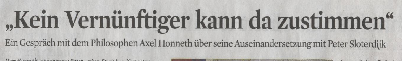 Kölner Stadt-Anzeiger, 17.12.2009, Titel Honneth-Interview