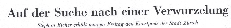 NZZ, 17.12.2009, Titel: Stephan Eicher erhält Kunstpreis der Stadt Zürich