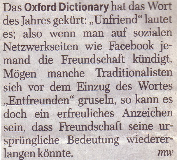 WamS, 29.11.09: Mediennotiz Oxford Dictionary, Jahreswort