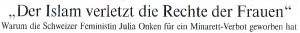 """Die Welt, 03.12.09, Titel: """"Der Islam verletzt die Rechte der Frauen"""""""