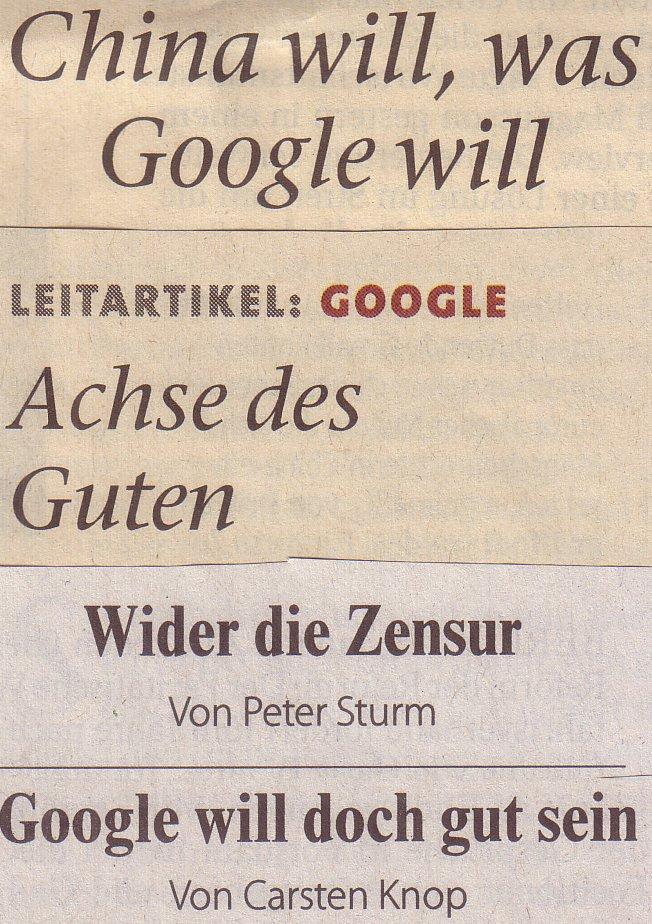Überschriften der Google-Kommentare in FTD und FAZ am 14.01.10