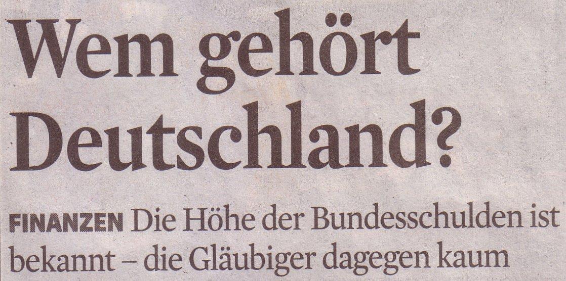 Kölner Stadt-Anzeiger, 02.01.10, Titel: Wem gehört Deutschland?