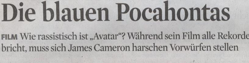 Kölner Stadt-Anzeiger, 14.01.10, Titel: Die blauen Pocahontas