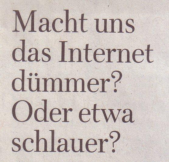 WamS, 10.01.10, Titel: Macht uns das Internet dümmer?