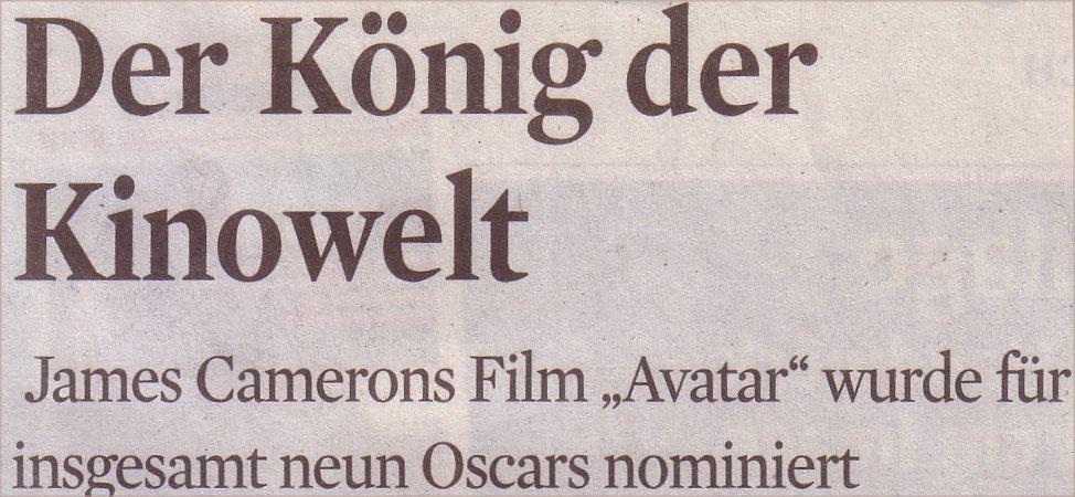 Kölner Stadt-Anzeiger, 02.02.10, Titel: König der Kinowelt