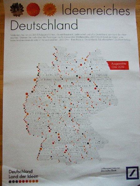 """A3-Plakat mit allen Tagen und """"Orten im Land der Ideen"""""""