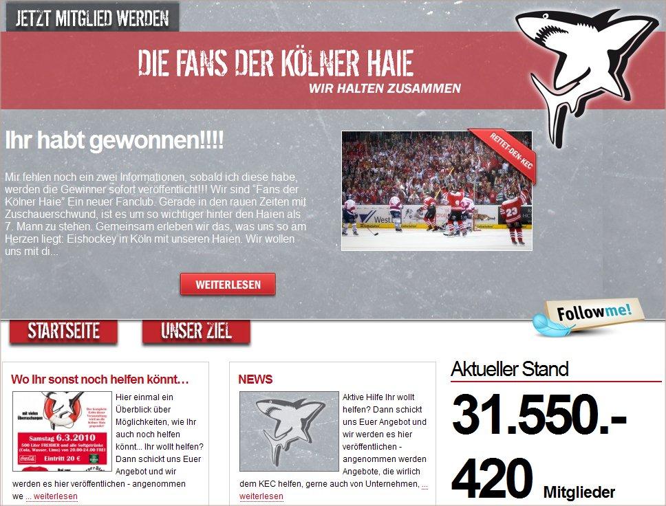 Screenshot der Seite rettet-den-KEC.de vom 27.02.2010, 18:00 Uhr