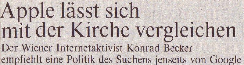 Die Welt, 15.02.10, Titel des Interviews mit Konrad Becker