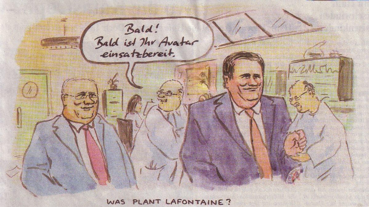 Die Welt, 23.01.10, Lafontaines Avatar-Karikatur