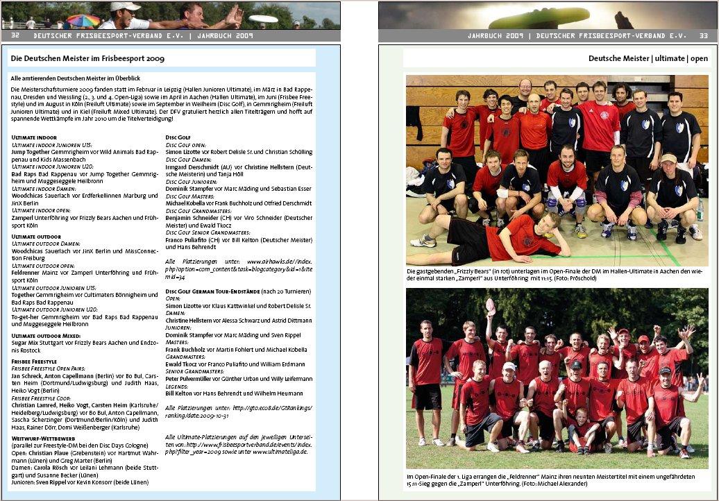 DFV-Jahrbuch 2009, Doppelseite Deutsche Meister