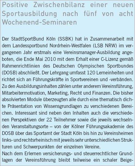 Teil1 des Berichts zur C-Lizenz Vereinsmanagement in der SSN03-2010