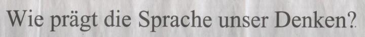 Süddeutsche Zeitung, 16.04.2010, Titel: Wie prägt die Sprache unser Denken?