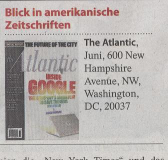 FAZ, 17.05.2010, Titel: Blick in amerikanische Zeitschriften