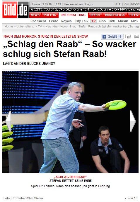 Screenshot von bild.de, 09.05.2010: So wacker schlug sich Stefan Raab