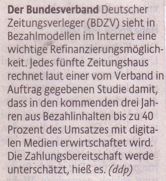 Kölner Stadt-Anzeiger, 01.05.2010, BDZV über Bezahlmodelle im Internet