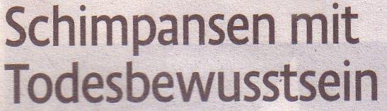 Kölner Stadt-Anzeiger, 01.05.2010, Titel: Schimpansen mit Todesbewusstsein