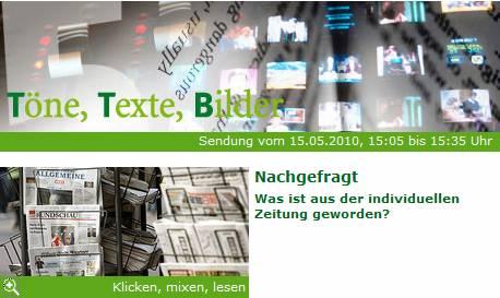 """Screenshot von wdr5.de: """"Töne, Texte, Bilder"""" vom 15.05.2010"""