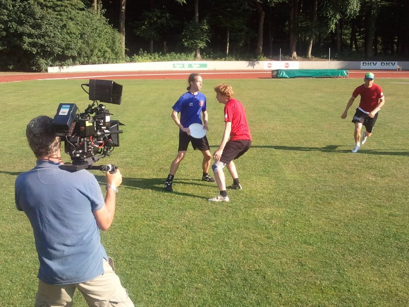 Filmdreh zum Frisbeesport beim ASV Köln
