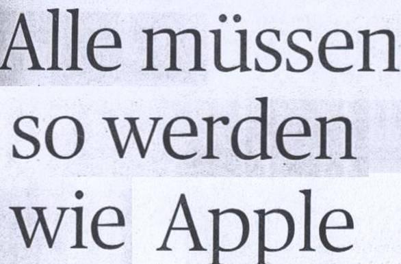 Handelsblatt, 26.07.10, Titel: Alle müssen so werden wie Apple