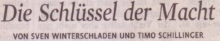 Kölner Stadt-Anzeiger, 31.07.2010, Titel: Die Schlüssel der Macht