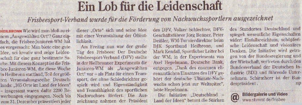 Heilbronner Stimme, 07.08.2010: Eion Lob für die Leidenschaft