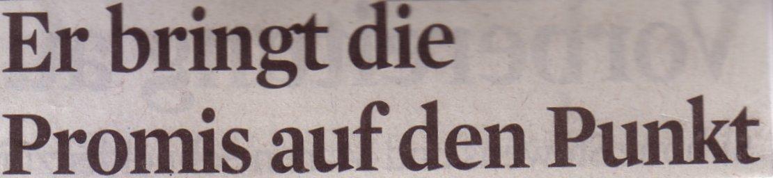 Kölner Stadt-Anzeiger, 15.09.10, Titel: Er bringt Promis auf den Punkt