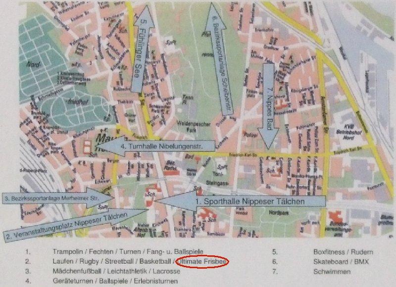 Stadtplan von Köln-Nippes mit der Übersicht des Sportaktionstags 2010
