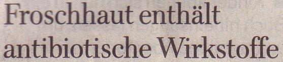 Welt am Sonntag, 29.08.2010, Titel: Froschhaut enthält antibiotische Wirkstoffe
