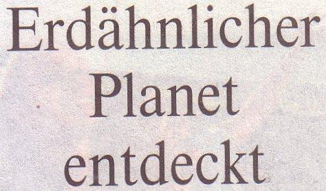 Die Welt, 01.10.10., Titel: Erdähnlicher Planet entdeckt