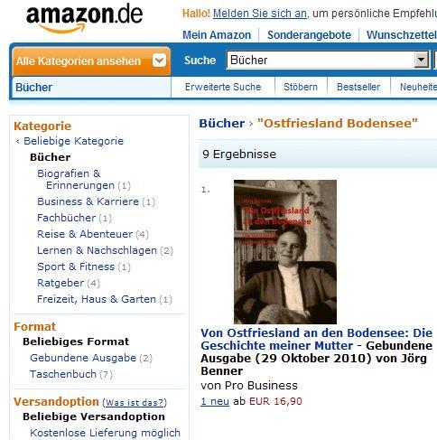"""Screenshot von amazon.de zu meinem Buch """"Von Ostfriesland an den Bodensee"""""""