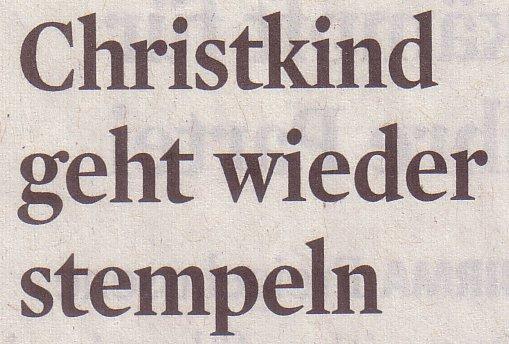 Kölner Stadt-Anzeiger, 16.11.10, Titel: Christkind geht wieder stempeln