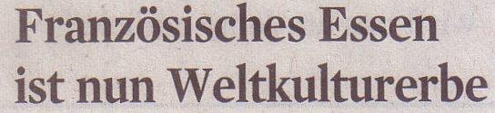 Kölner Stadt-Anzeiger, 17.11.10, Titel: Französisches Essen ist nun Weltkulturerbe