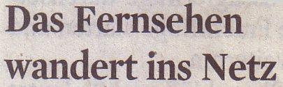Kölner Stadt-Anzeiger, 20.11.10, Titel: Das Fernsehen wandert ins Netz