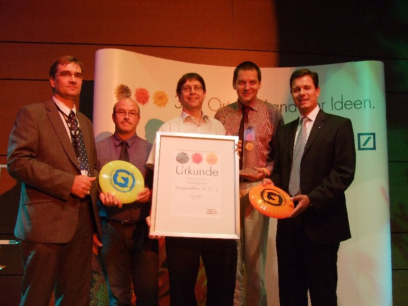 "Gruppenbild der Preisverleihung in Heilbronn am 06. 08. 2010 als ""Ort im Land der Ideen"""