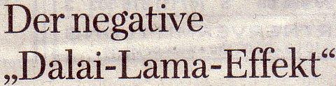 Welt am Sonntag, 07.11.2010: Der negative Dalai-Lama-Effekt