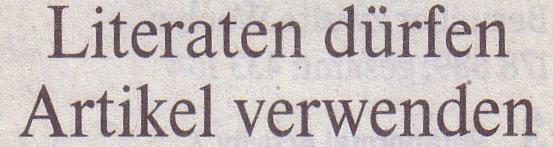 Die Welt, 11.11.10, Titel: Literaten dürfen Artikel verwenden